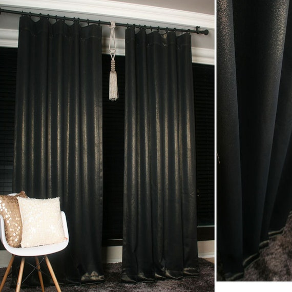 black with gold glitter accents blackout curtain drapery panel for