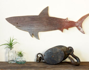 SHARK Jaws Great White Barn Wood Cut Out Silhouette Wall Art Decor House Warming