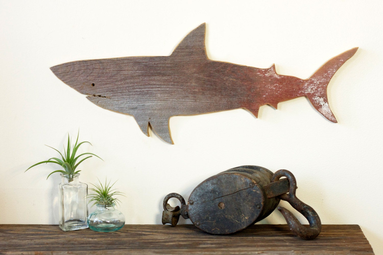 Wall Decor Out Of Wood : Shark jaws great white barn wood cut out silhouette wall art