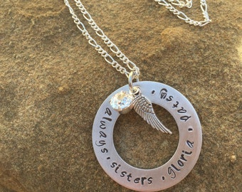 Sisters  forever necklace with swaorvski stone and angel wing charm hand stamped