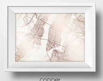 New York City New York Street Map Modern Minimalist Art Print Office or Home Wall Decor