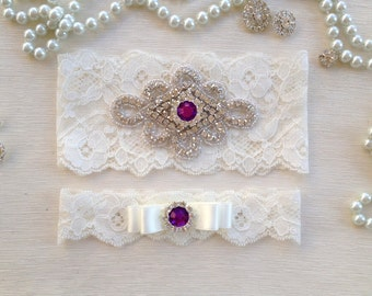 wedding garter set, ivory bridal garter set, ivory lace garter, purple rhinestone, ivory bow