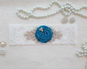 wedding garter, bridal garter, lace garter, tale rolled rosette, rhinestone