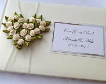 Rose Heart wedding guest book