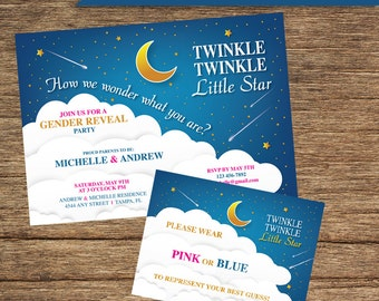 Invitation and Name Card Twinkle Twinkle Gender Reveal BAB-01-INV-NC-Digital Download