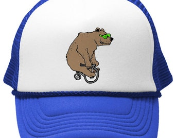BEAR on a BIKE TRUCKER Hat - with green shades, hipster