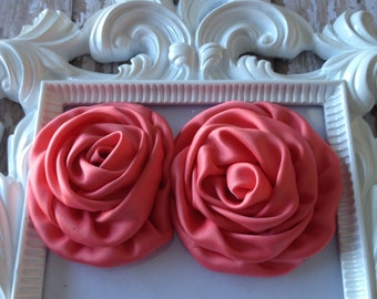 Set of 2 Rolled Satin Rosettes, Coral Rosettes, Wholesale Supply, DIY headband, boutique supplies