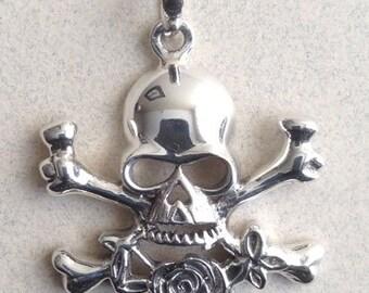 Sterling Silver Skull And Crossbones Pendant P-45