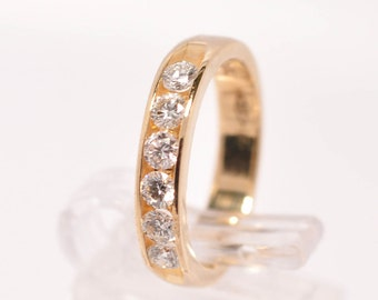 14k Yellow Gold Round Cut 1/2 CTW Diamond Channel Band Ring Size 5