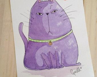 "Cat (Scribouillard) from the comic ""Tokyo Home"" - Watercolor"