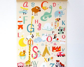 Poster alphabet vintage, fun for kidsroom and nursery