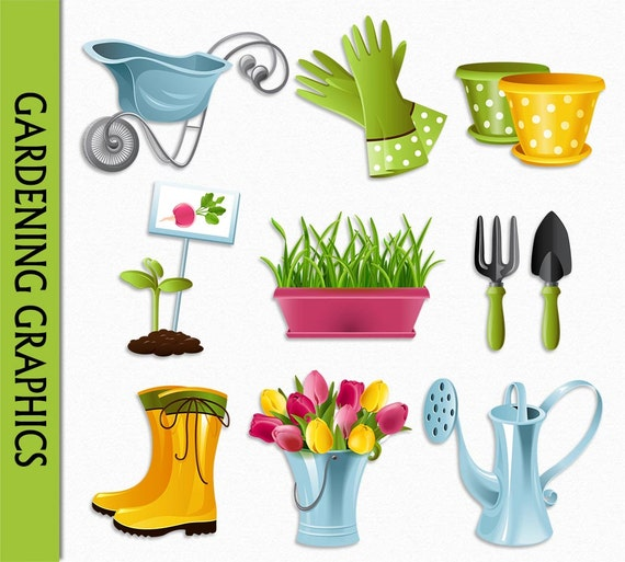 Gardening clipart flowers clip art graphic digital for Gardening tools clipart