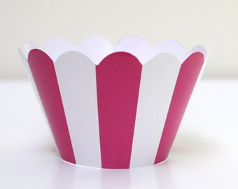 Striped Hot Pink Cupcake Wrappers Pack of 12 Party Supplies