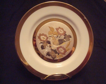 Keito Japan fine china plate Bird with flowers