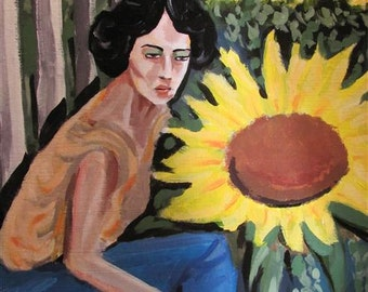 Original Painting titled The Sunflower Planter