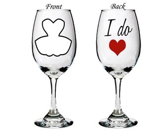 personalized wedding glasses - I do -  single white wine glass - bride gift - mix and match - double sided - engagement gift