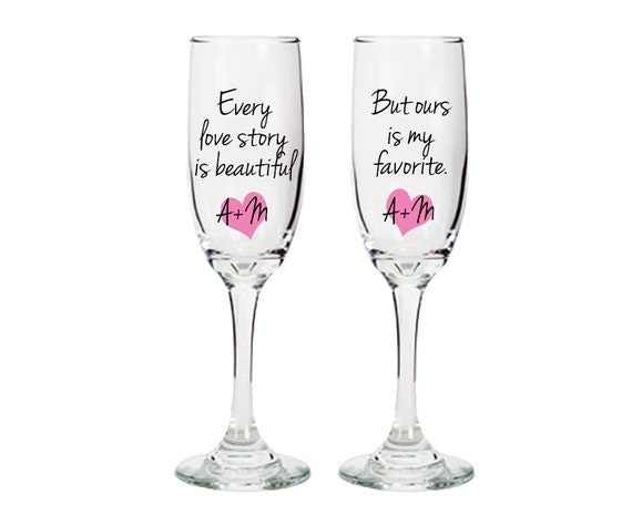 personalized toasting glasses with custom sayings quotes hearts and