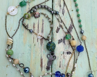 Vintage Assemblage necklace in blues and greens