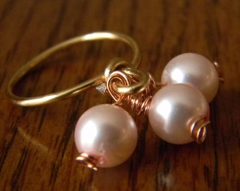 Dainty Wire Ring with Glass Pearl Dangle
