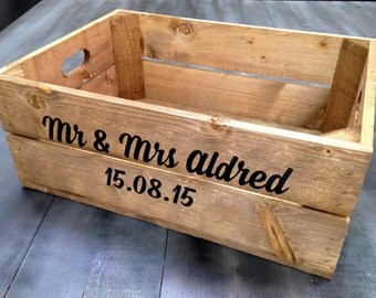 Personalised Rustic Wooden Shallow Apple Crate Box (Vintage Style)
