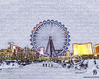 Digital Art: High Roller Ferris Wheel Ride, Las Vegas, Landscape, Wall Decor photo, Fine Art Photography Print [prp] [gry]