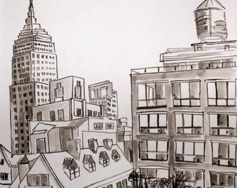 MALEREI, Zeichnung, Architektur, Original, kein Druck, Tusche, Empire State Building, New York City, Manhattan