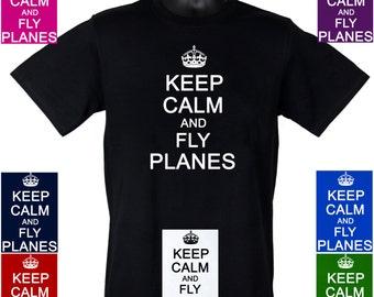 Keep Calm and Fly Planes Jet Aeroplane Tshirts S - 3XL Tees