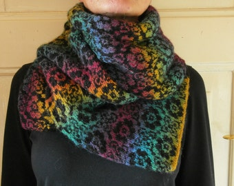 Rainbow scarf with flower pattern.