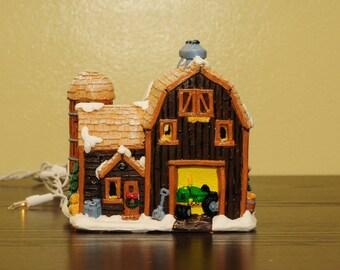 Painted ceramic barn
