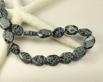 "Snowflake Obsidian Octagon stones 18x15, 16"" strand black octagon gemstones, Black/White stones,G400, Ships US"