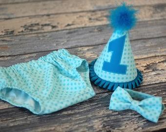 Aqua Tonal Dots Cake Smash Outfit - Little Guy Bowtie, Diaper Cover, Hat - Aqua Tonal Dots Birthday Party Cake Smash Outfit