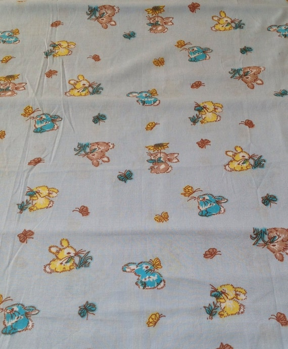 Vintage baby blue bunny rabbit fabric cotton butterflies 1970 for Retro baby fabric