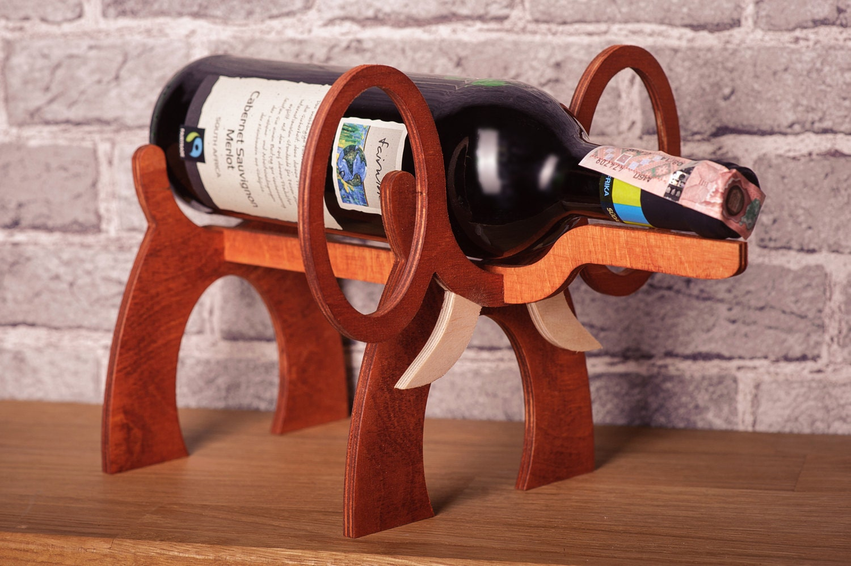 Wooden wine rack elephant standing wine bottle holder wine - Elephant wine bottle holder ...
