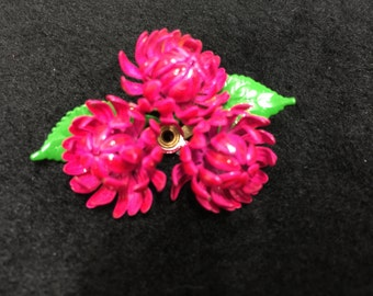 Pink Chrysanthemum (Floral) Enamel Brooch