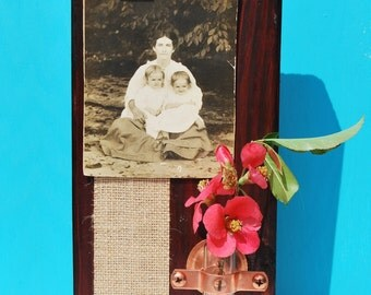 Rustic Photo Frame and Vase, Photo Block, Picture Frame by Pepperberry Market