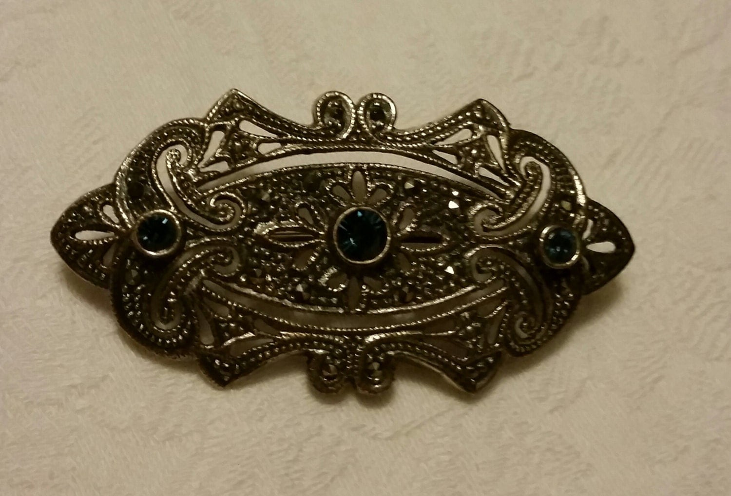 vintage jewelry marked 925 sterling silver marcasite and blue