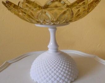 Dessert Pedestal/Cupcake Stand Gold/White Milk Glass. Birthday/Wedding/Anniversary 8 inch