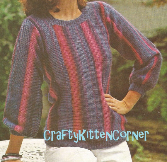 Knitting Pattern For Round Neck Jumper : Vintage Ladies Striped T-Top Round Neck Sweater Knitting PDF