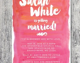 Bridal shower invitation watercolor custom color DIGITAL FILE