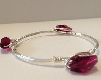 3 Stone - Swarovski Crystal (Fusia Pink) Bangle Bracelet
