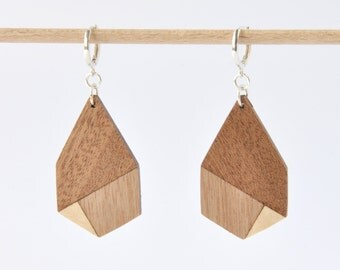 wood earrings, geometric wooden earrings, sterling silver 925 jewelry