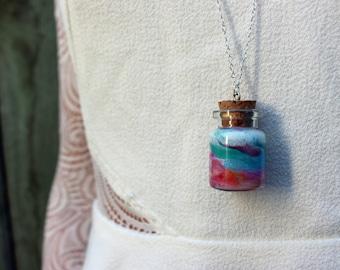 Milky Way Miniature Jar Tiny Jar Necklace Corktop Jar on 925 Sterling Silver Chain