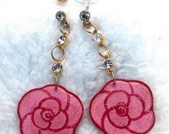 PINK FLOWER EARRINGS - Earrings Handmade Resin Earrings Earrings Dangle Modern Earrings Pink Earrings Flower Earrings Valentines Day Gift