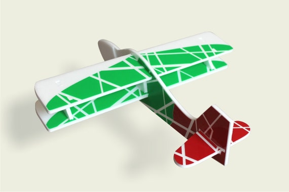 Airplane Toy Push pull toys White green red air plane Aircraft model kits Aviator party Kids gift ideas Handmade toys Birthday decorations