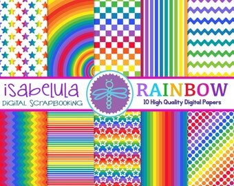 """Rainbow Digital Paper- Colorful Background / Brights - Set of 10 - 12""""x12"""" High Quality / Instant Download"""