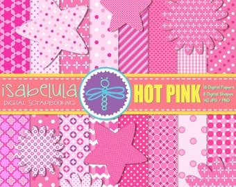 "Baby Girl Hot Pink Digital Paper Pack + Clilpart Star & Flower Digital Shape - Girly Digital Backgrounds 12""x12"" HQ JPG - Instant Download"