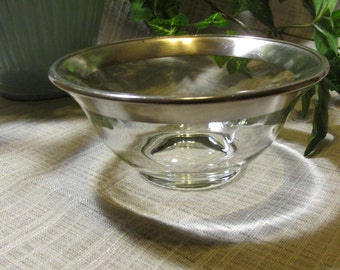 ON SALE! Dorthy Thorpe Vintage Retro Mid Centry Glass with Silver Band Salad Bowl or Small Serving Dish Dip Bowl 1950's