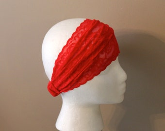 Red lace Headband, Really red, lace romantic style, headband, stretch lace, comfortable