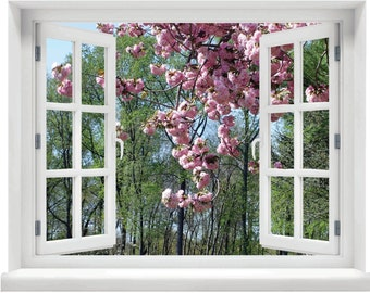 Window with a View Cherry Blossom Wall Mural