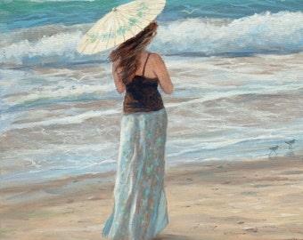 Beach greeting card , girl, woman, beach, coastal, nautical,sandpipers, beach art, from an original painting by Tina O'Brien